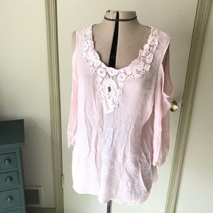 Soft pink blouse with peekaboo shoulders